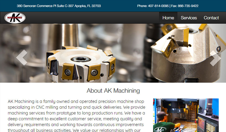 AK Machining Custom Web Site