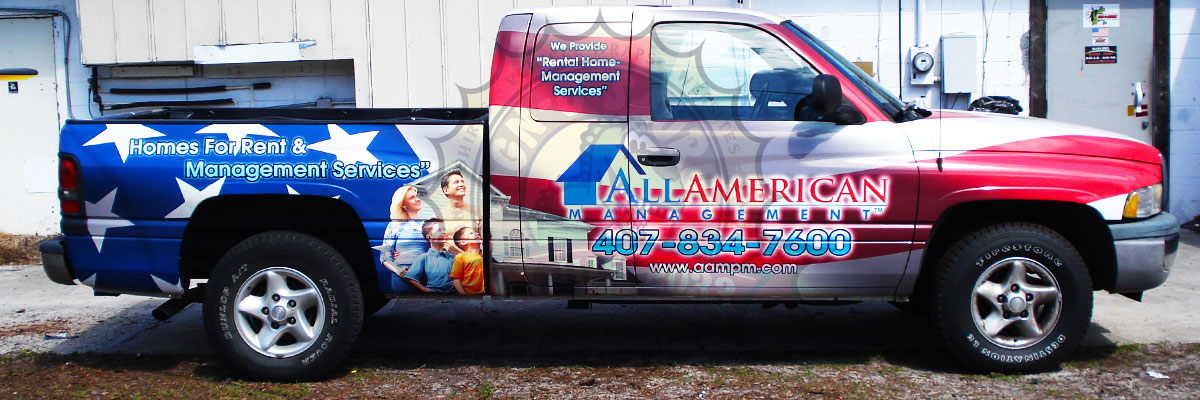 All Americna Management Pickup Truck Wrap