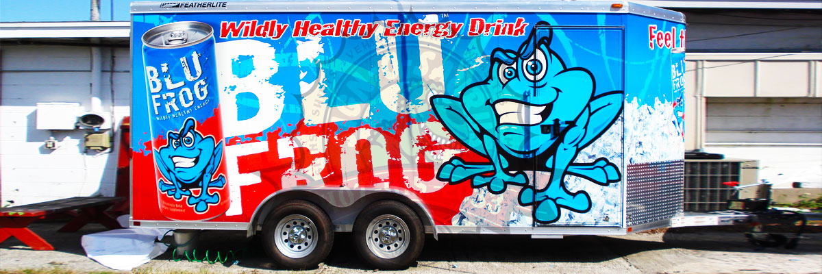 Blue Frog Energy Drink Trailer Wrap