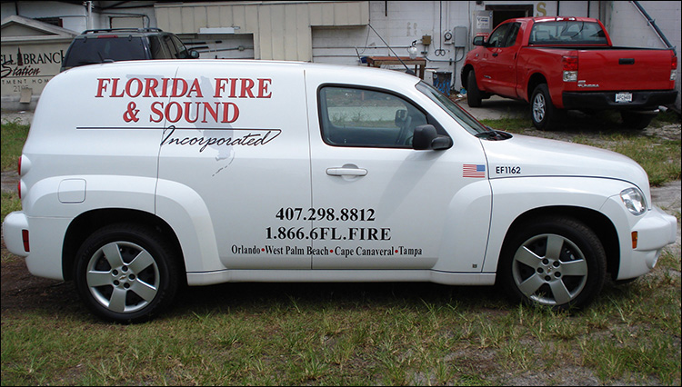 Florida Fire & Sound Vehicle Lettering