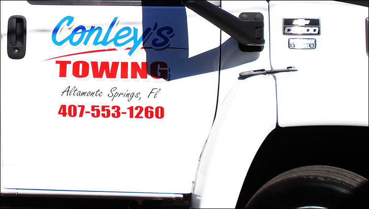 Conley's Towing Truck Lettering