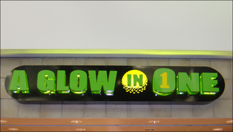 A Glow in One Channel Letters Sign