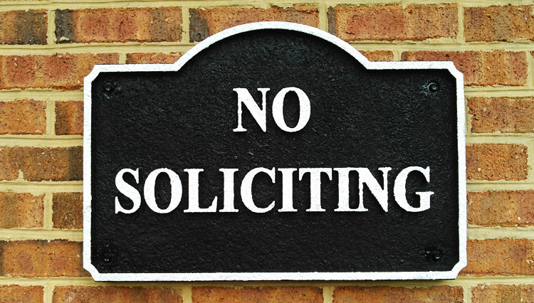 Sand Blasted No Soliciting Sign