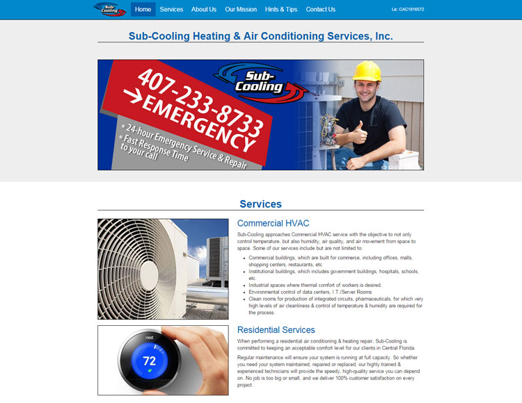 Sub Cooling Heating & Air - A Custom Web Site by Sign-O-Saurus